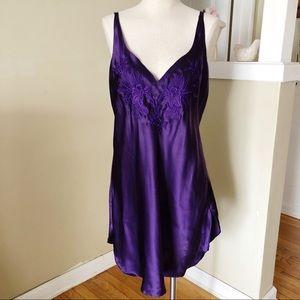 Vintage Victoria's Secret Purple Slip 100% Silk L